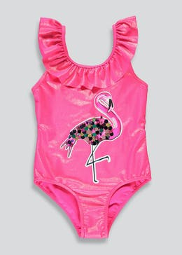 Girls Sequin Flamingo Swimming Costume (4-13yrs)