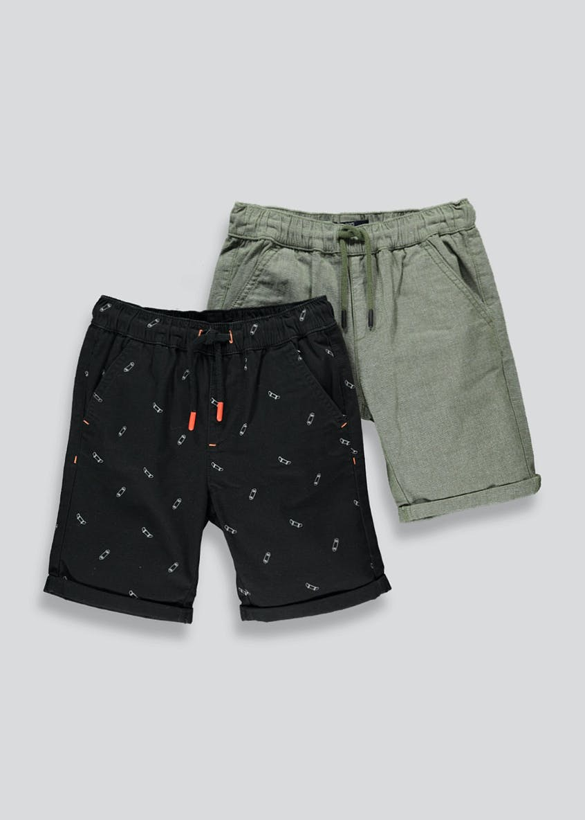 Boys 2 Pack Woven Cotton Shorts (4-13yrs)