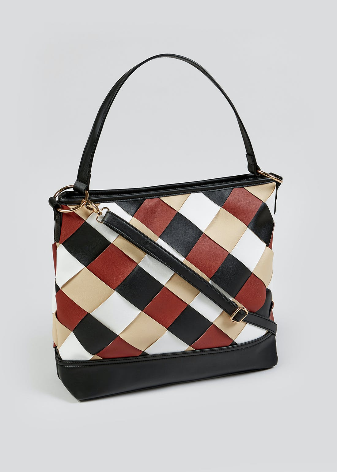 PU Woven Slouch Tote Bag