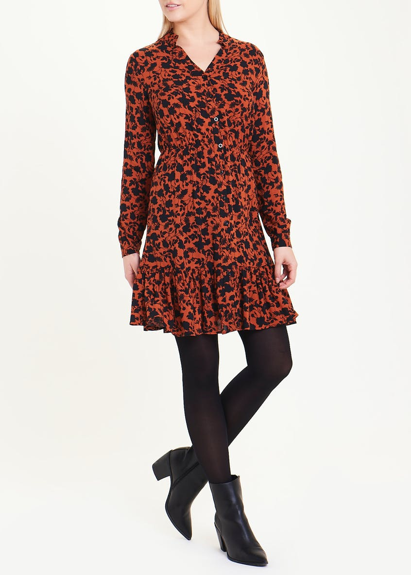 Long Sleeve Floral Tiered Mini Dress