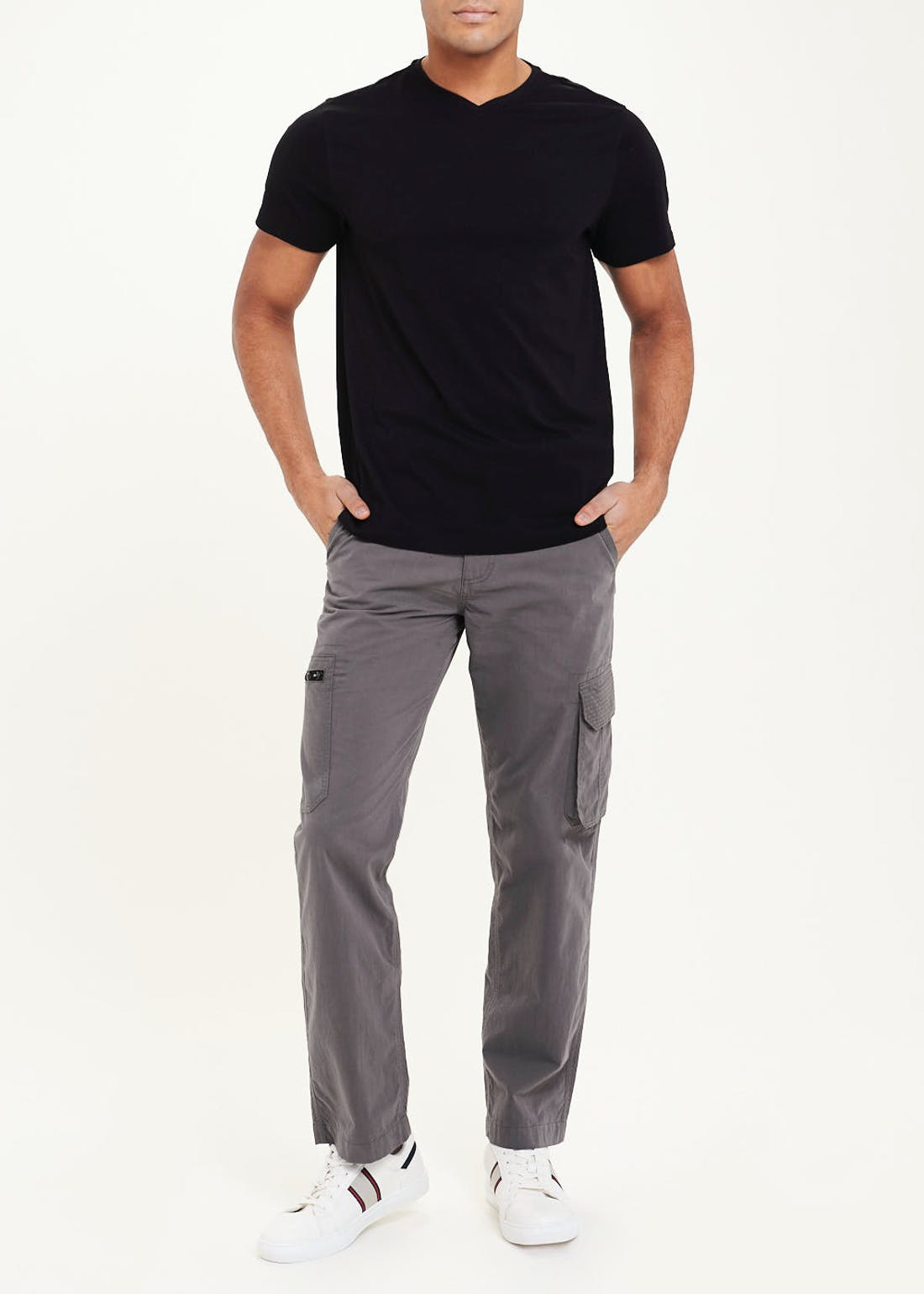 Straight Fit Belted Cargo Trousers