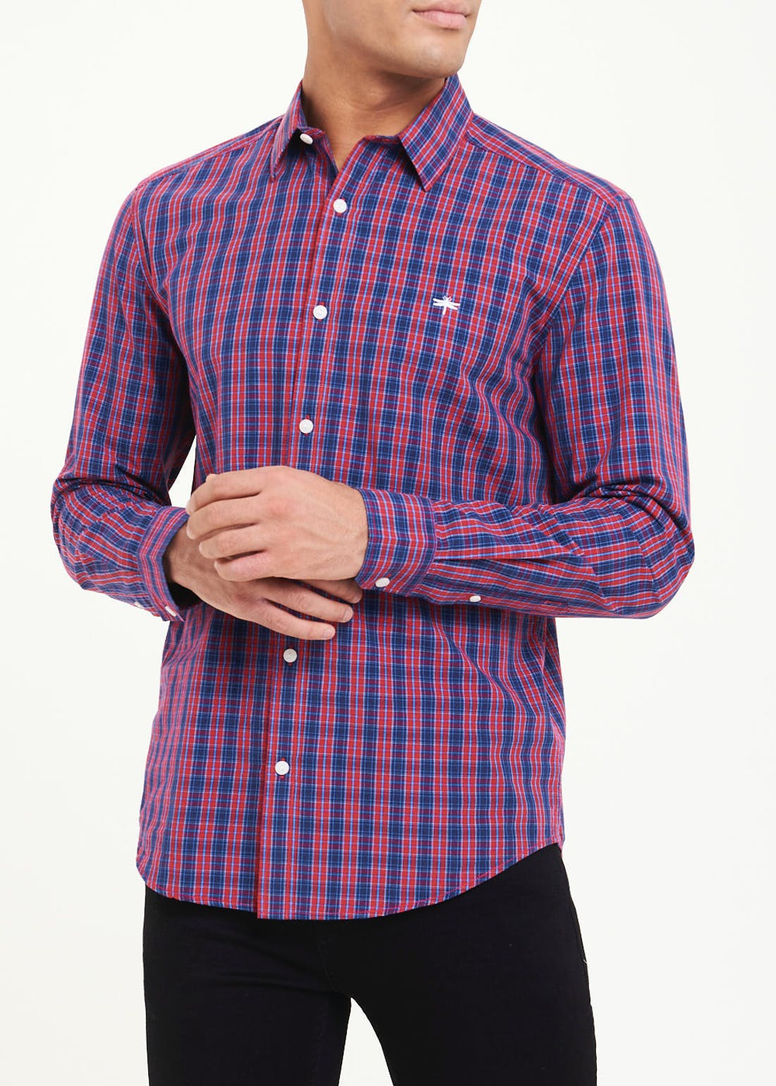 Long Sleeve Micro Check Shirt