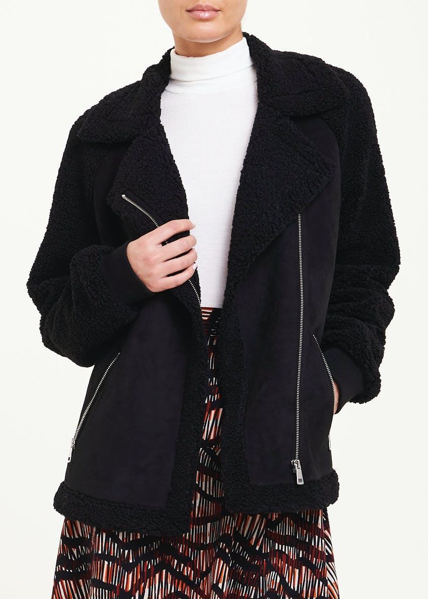 Black Shearling Biker Coat