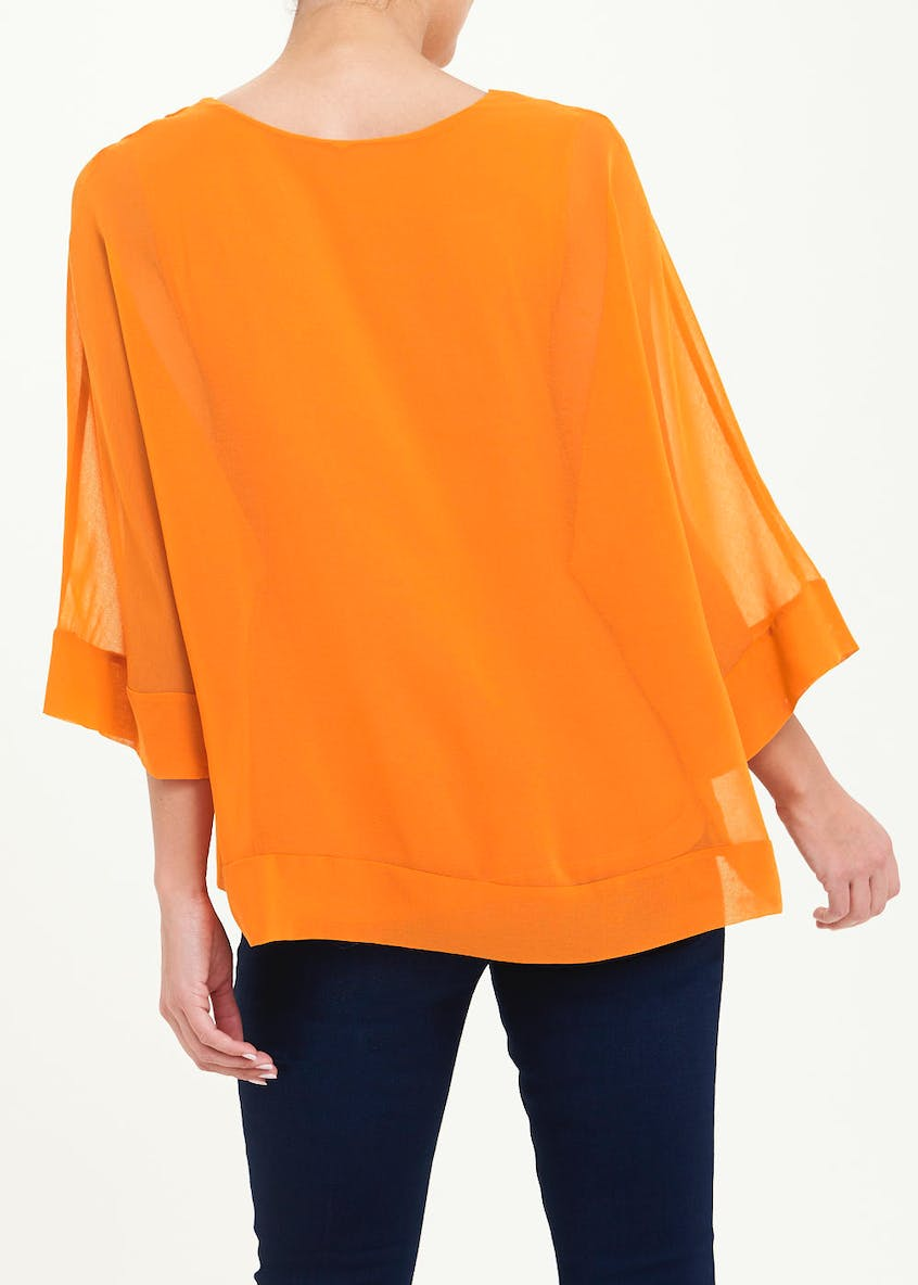 Soon Orange Kimono Sleeve Blouse