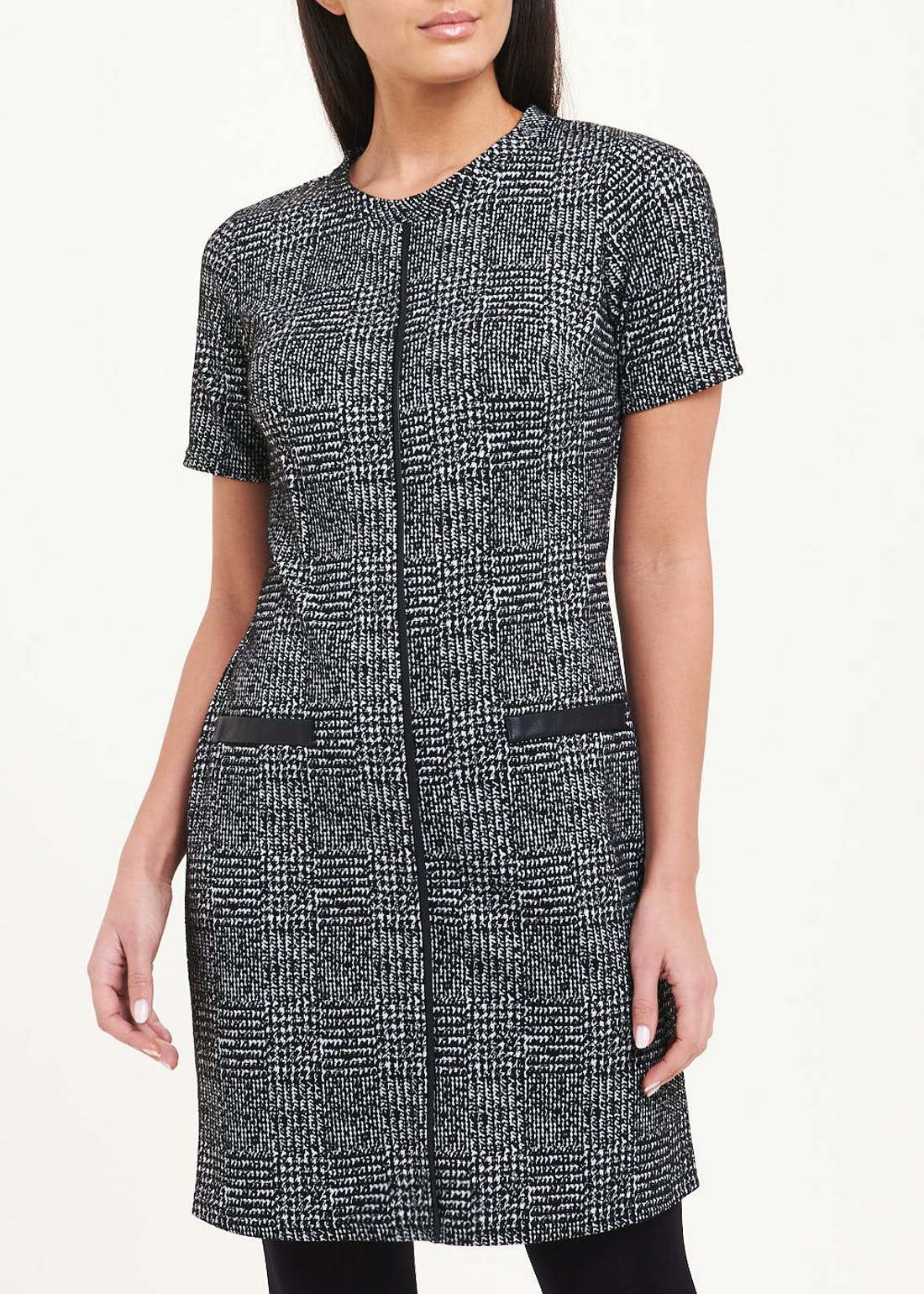 Grey Short Sleeve Textured Check Ponte Dress