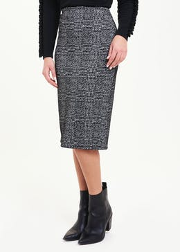 Textured Check Ponte Pencil Skirt