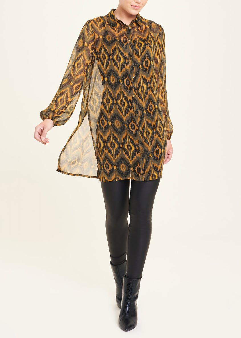 Long Sleeve Sheer Ikat Print Longline Blouse