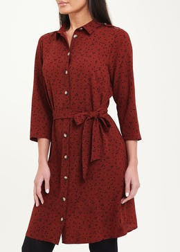 Red 3/4 Sleeve Printed Shirt Dress