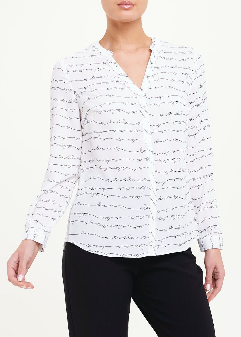 White Long Sleeve Love Sketch Print Blouse