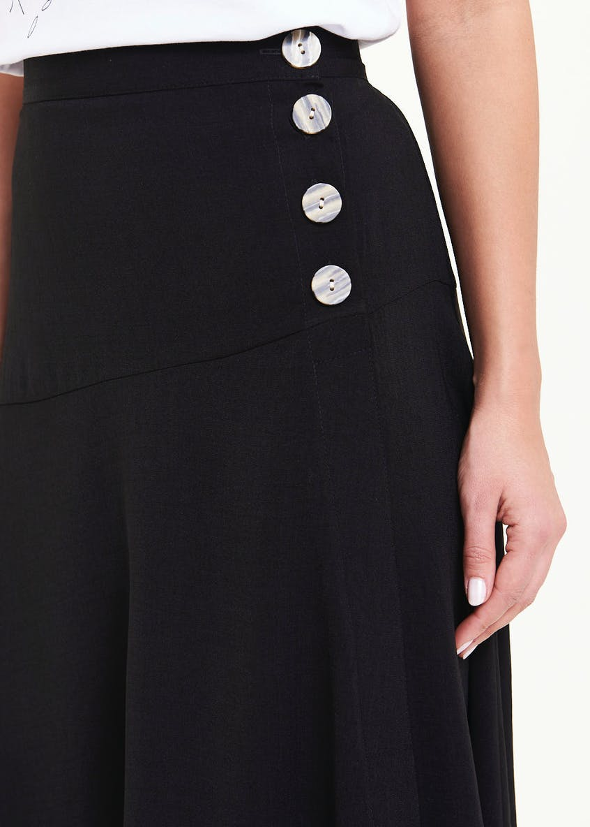 Button Side Flared Midi Skirt