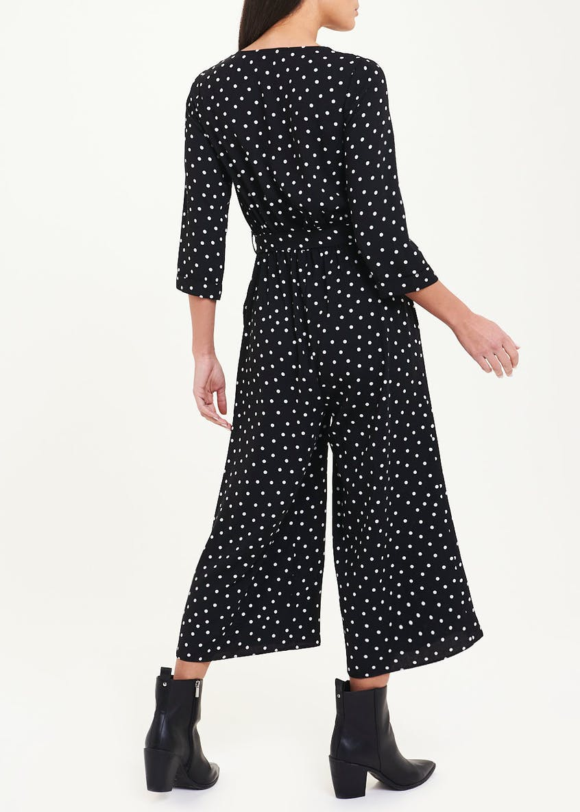 3/4 Sleeve Polka Dot Jumpsuit