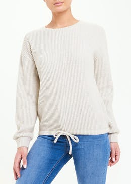 Long Sleeve Waffle Tie Front Top