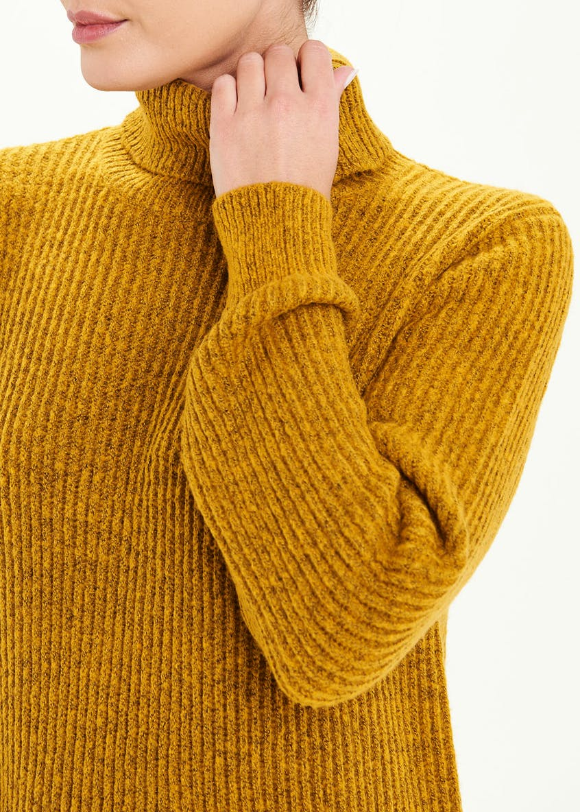 Ribbed Roll Neck Tunic Jumper