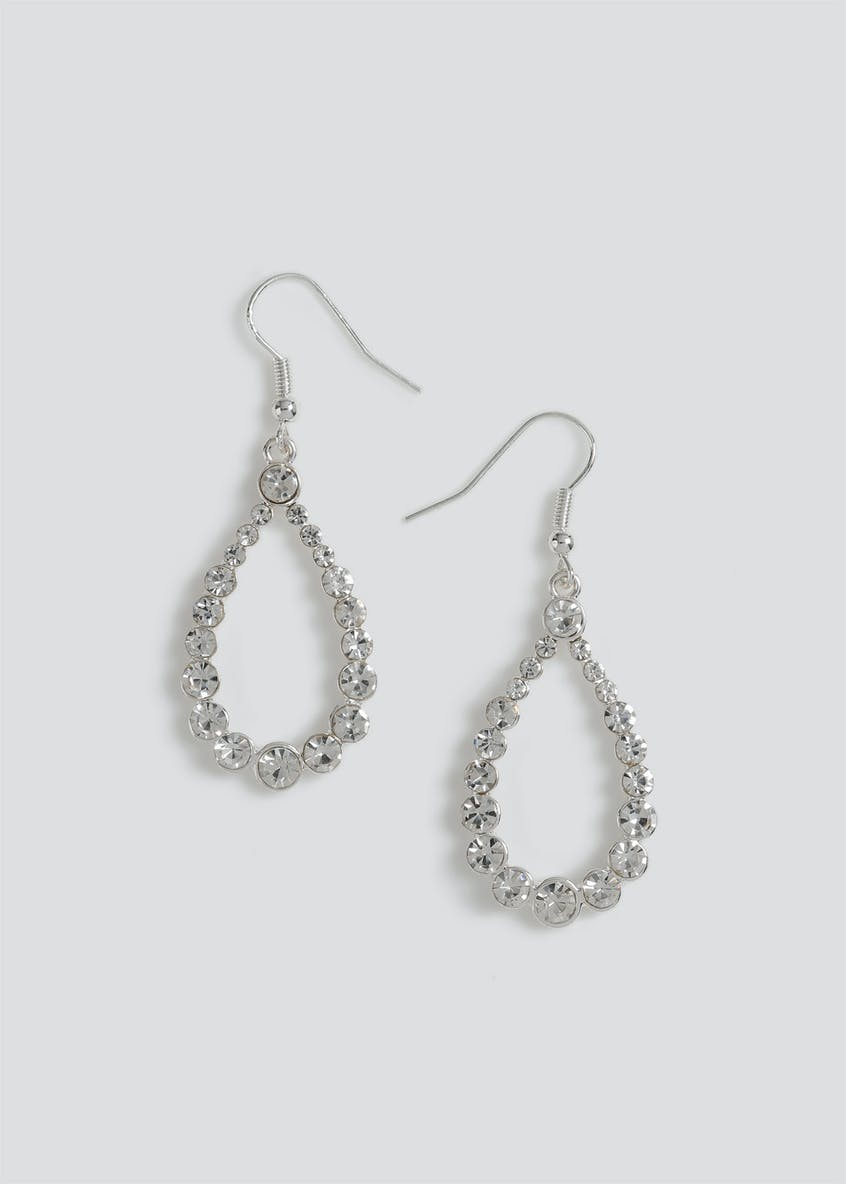 Rhinestone Oval Hoop Drop Earrings