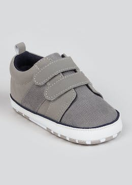 Boys Soft Sole Grey Baby Trainers (Newborn-18mths)
