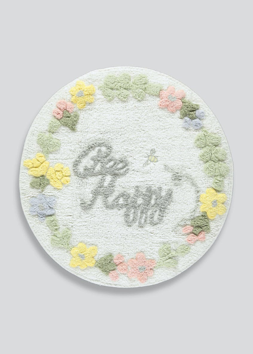 Bee Happy Round Bath Mat