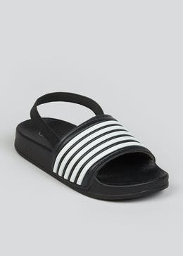 Boys Black Stripe Sliders (Younger 4-12)