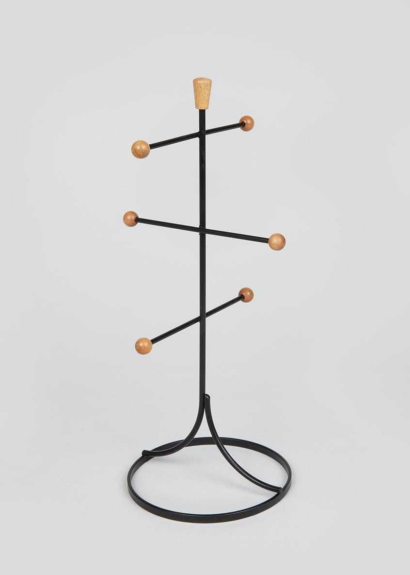 Wire & Wood Mug Tree Stand (28cm x 17cm)