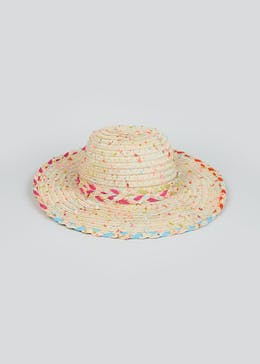 Girls Neon Trim Straw Hat (7-13yrs)