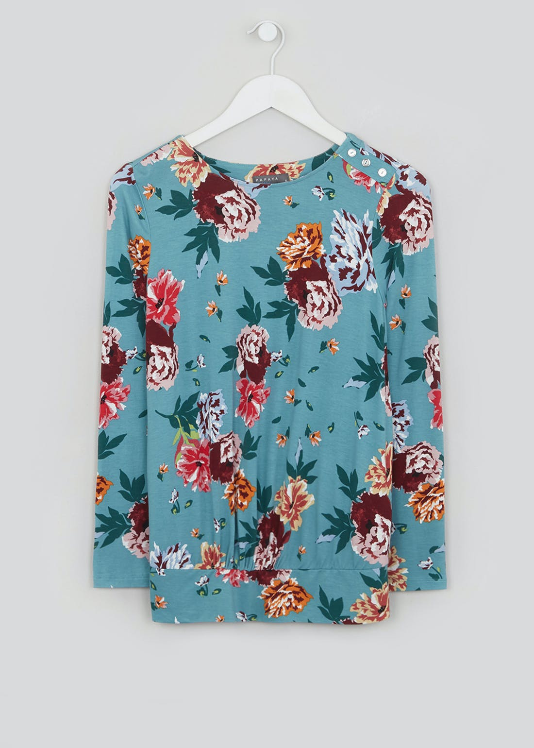 Soon Blue Floral Long Sleeve Bubble Hem Top