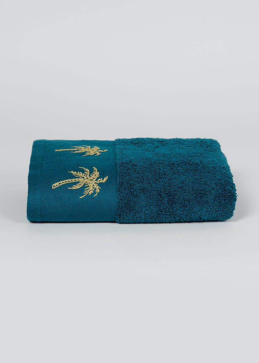 100% Cotton Embroidered Palm Tree Hand Towel (80cm x 50cm)