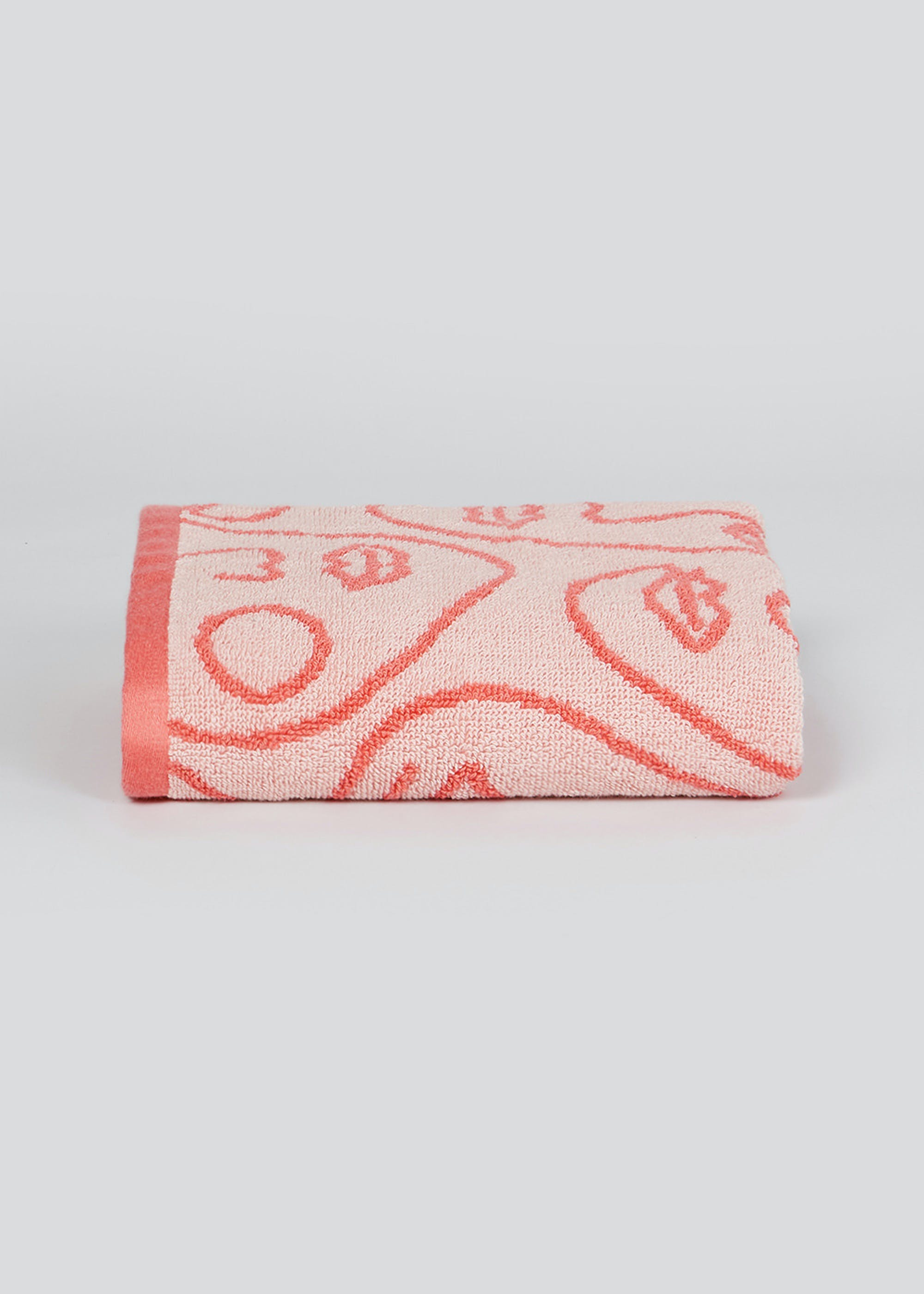 100% Cotton Abstract Face Print Hand Towel (80cm x 50cm) Pink IJfYi4