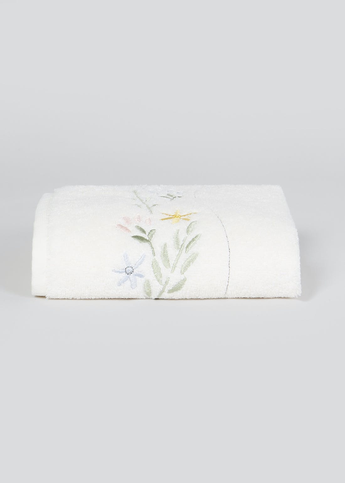 100% Cotton Embroidered Floral Hand Towel (80cm x 50cm)