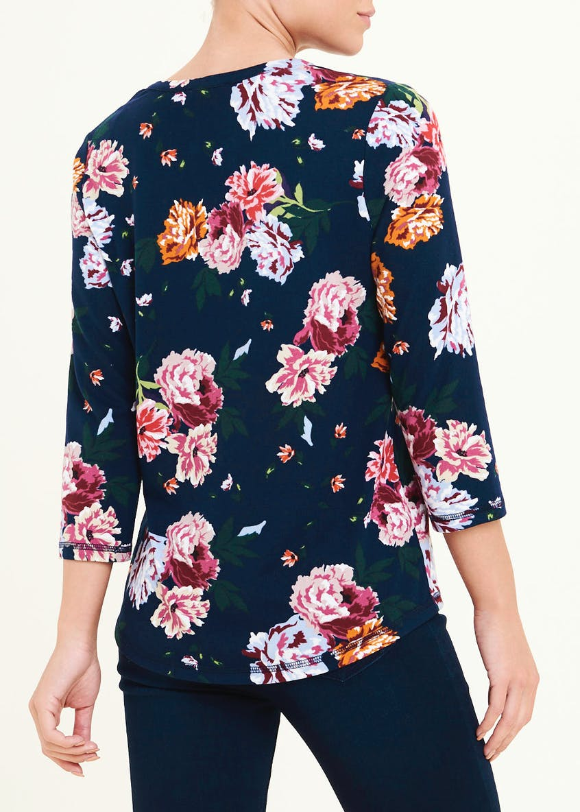 3/4 Sleeve Floral Henley Top
