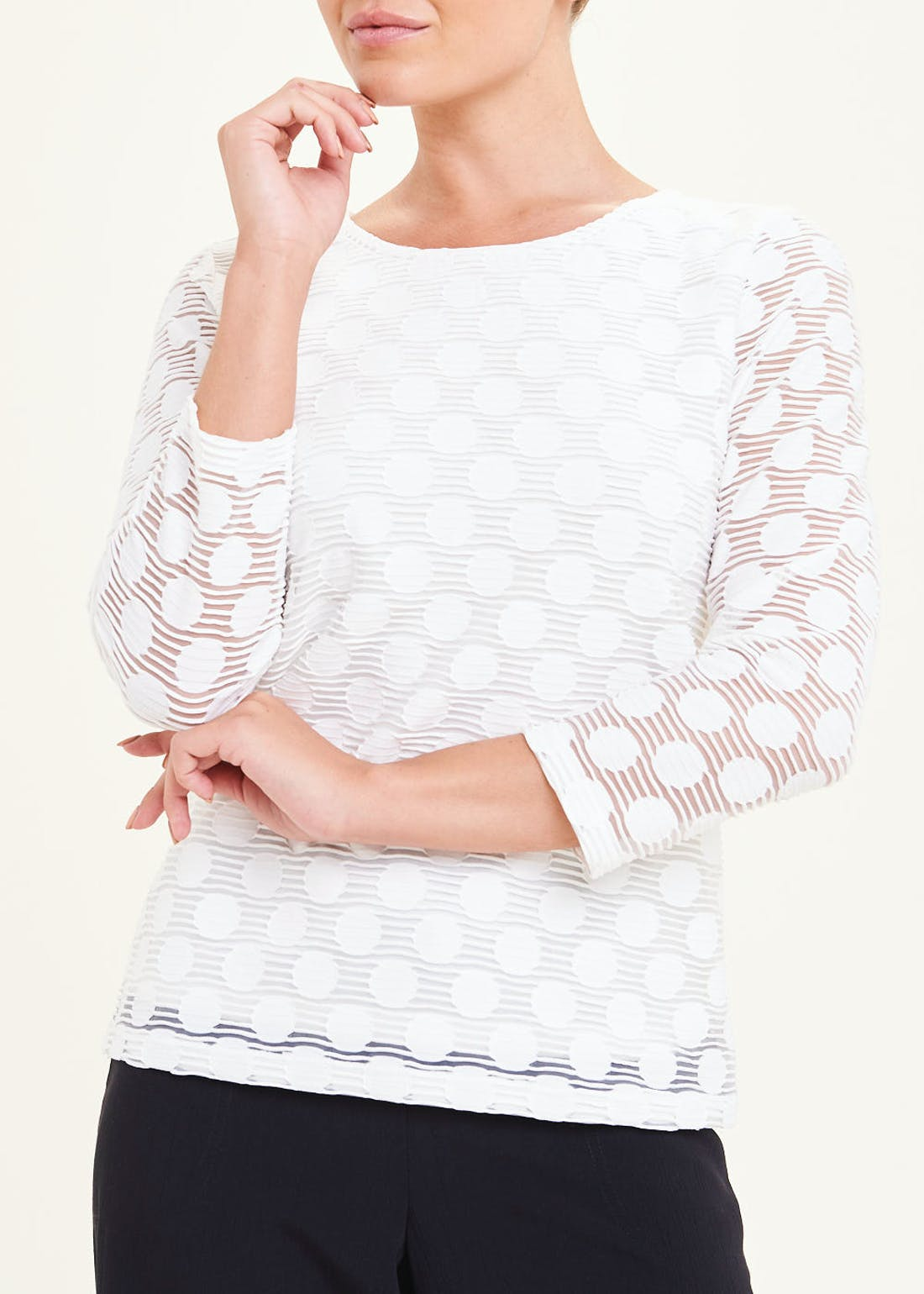 3/4 Sleeve Burnout Spot Top