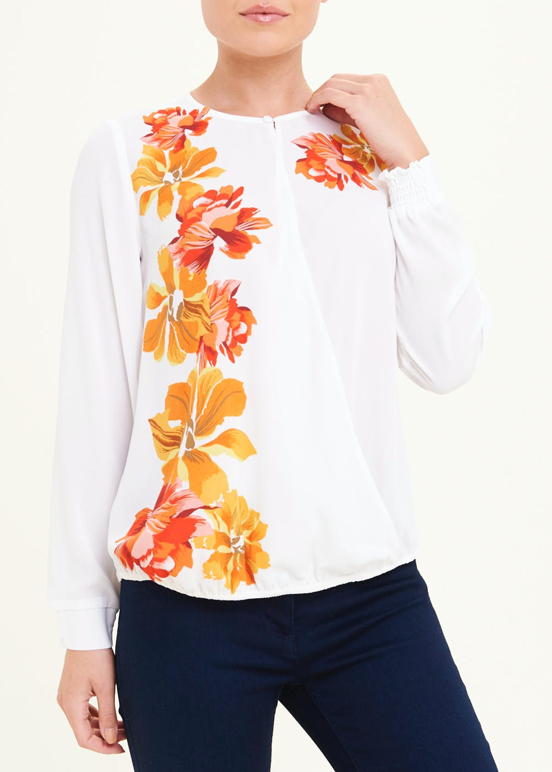 Soon Cream Long Sleeve Floral Wrap Blouse