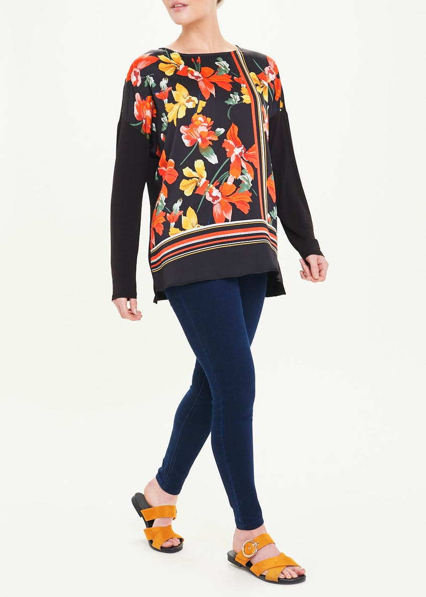 Soon Black Long Sleeve Floral Woven Front Top