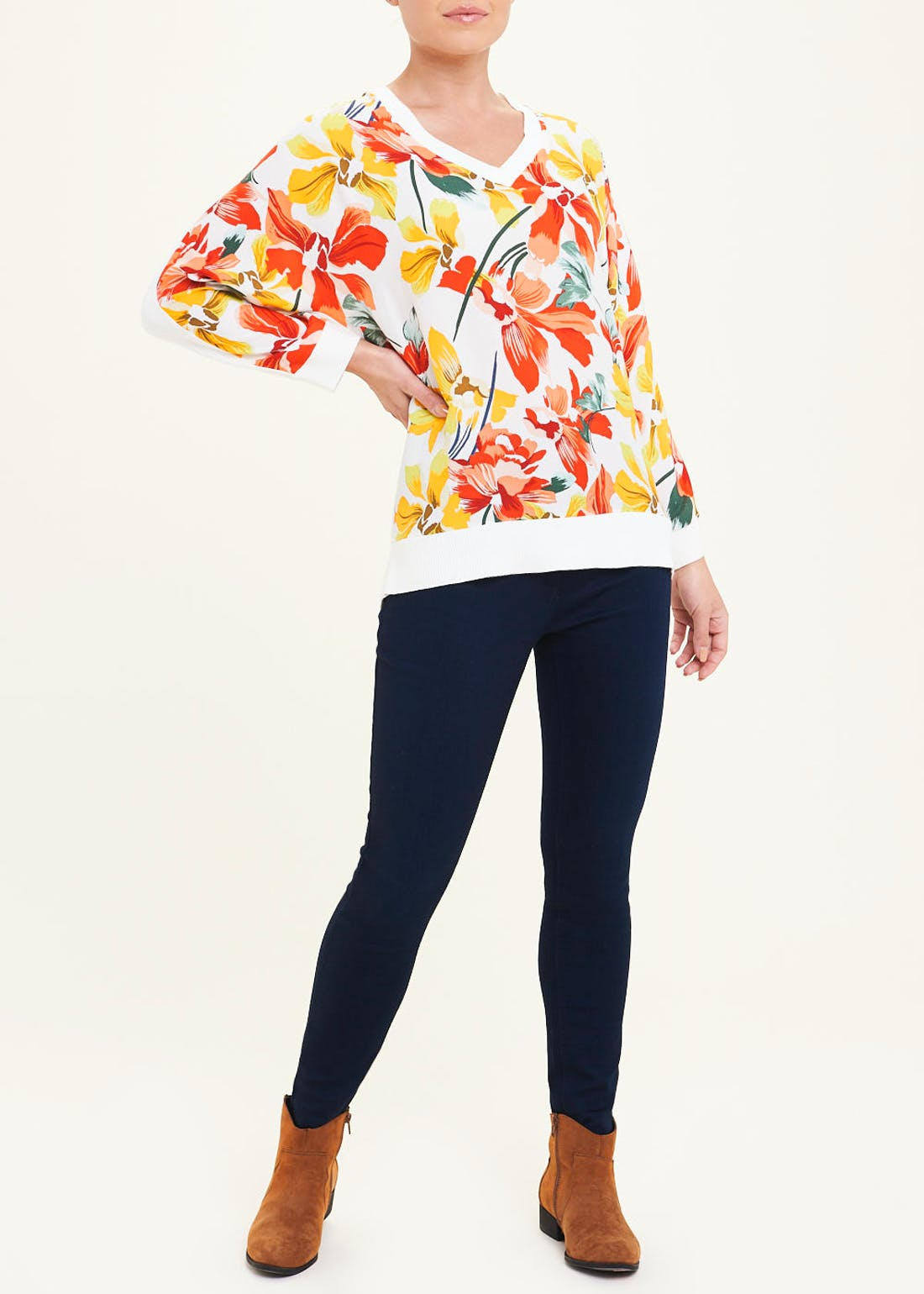 Soon Floral Woven Front Jumper