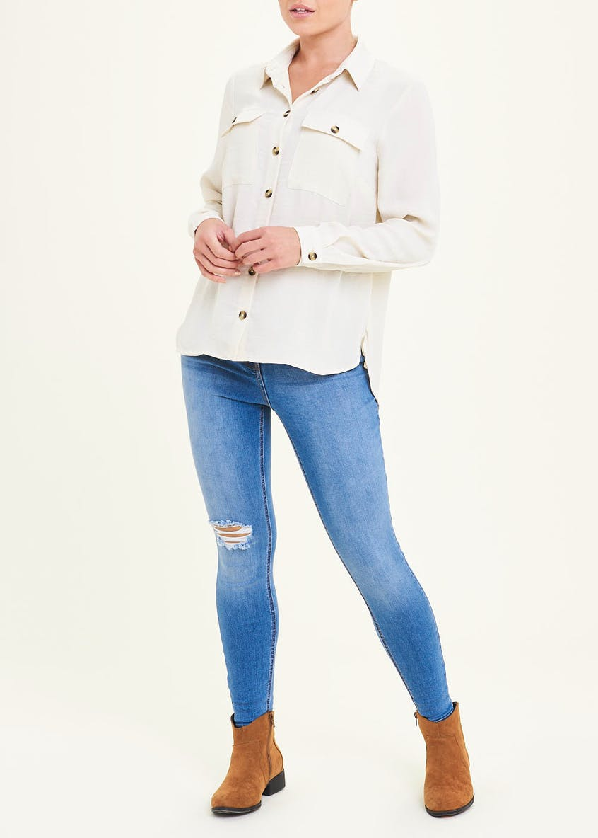 Cream Long Sleeve Utility Blouse