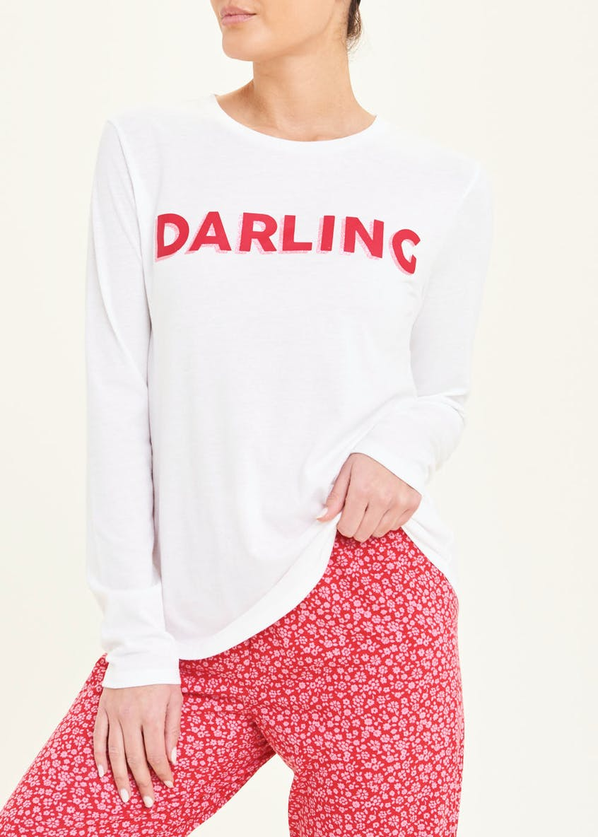 Mix & Match Darling Slogan Pyjama Top