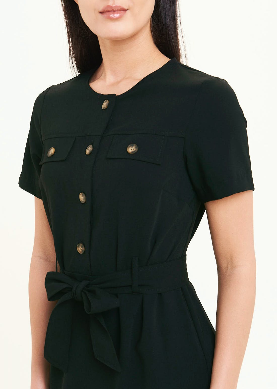 Black Short Sleeve Midi Shirt Dress