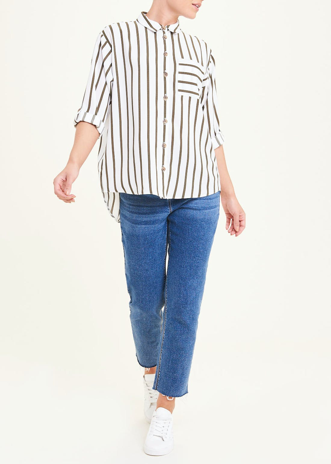 Cream 3/4 Sleeve Stripe Shirt