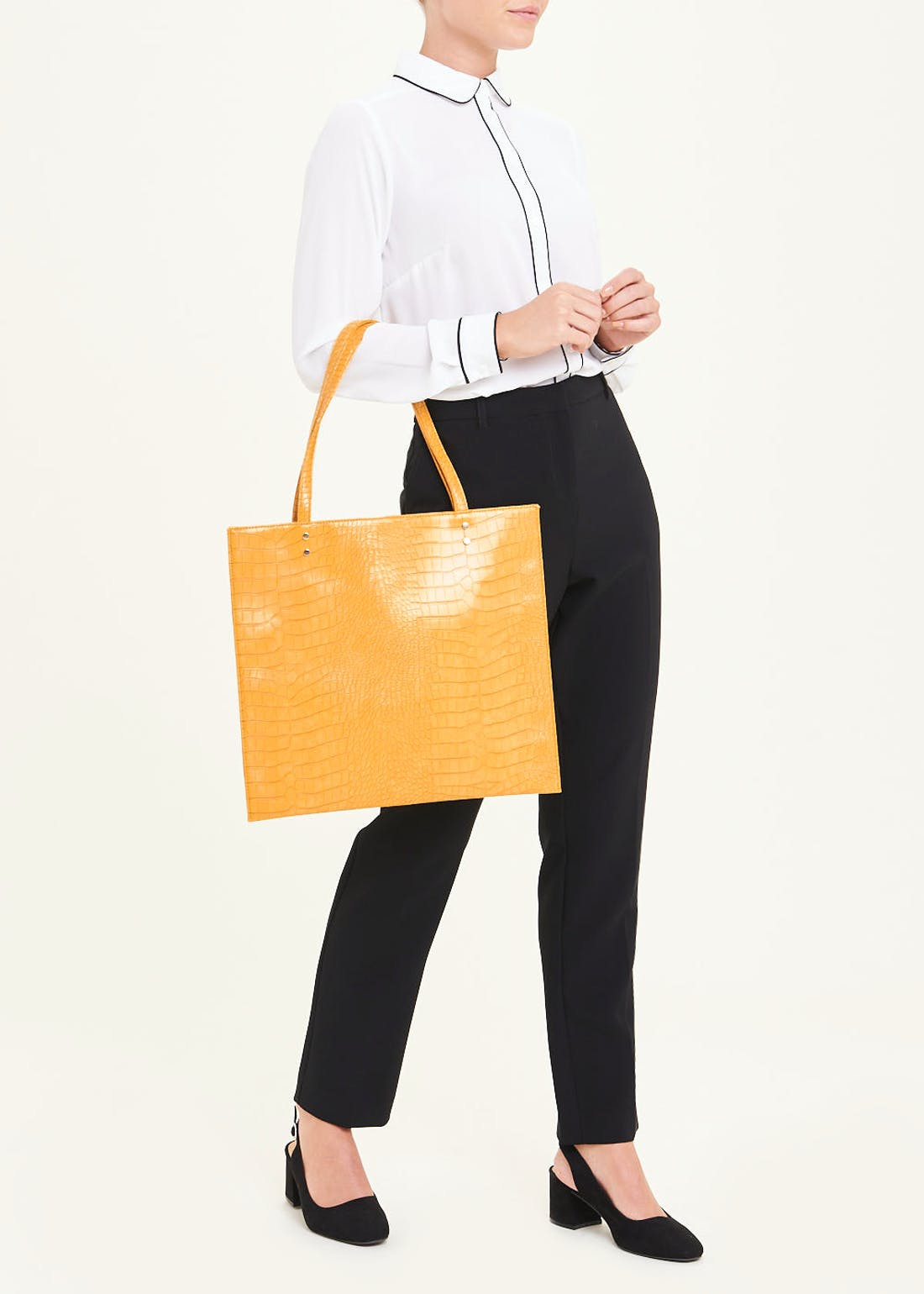 Mock Croc Square Shopper Bag