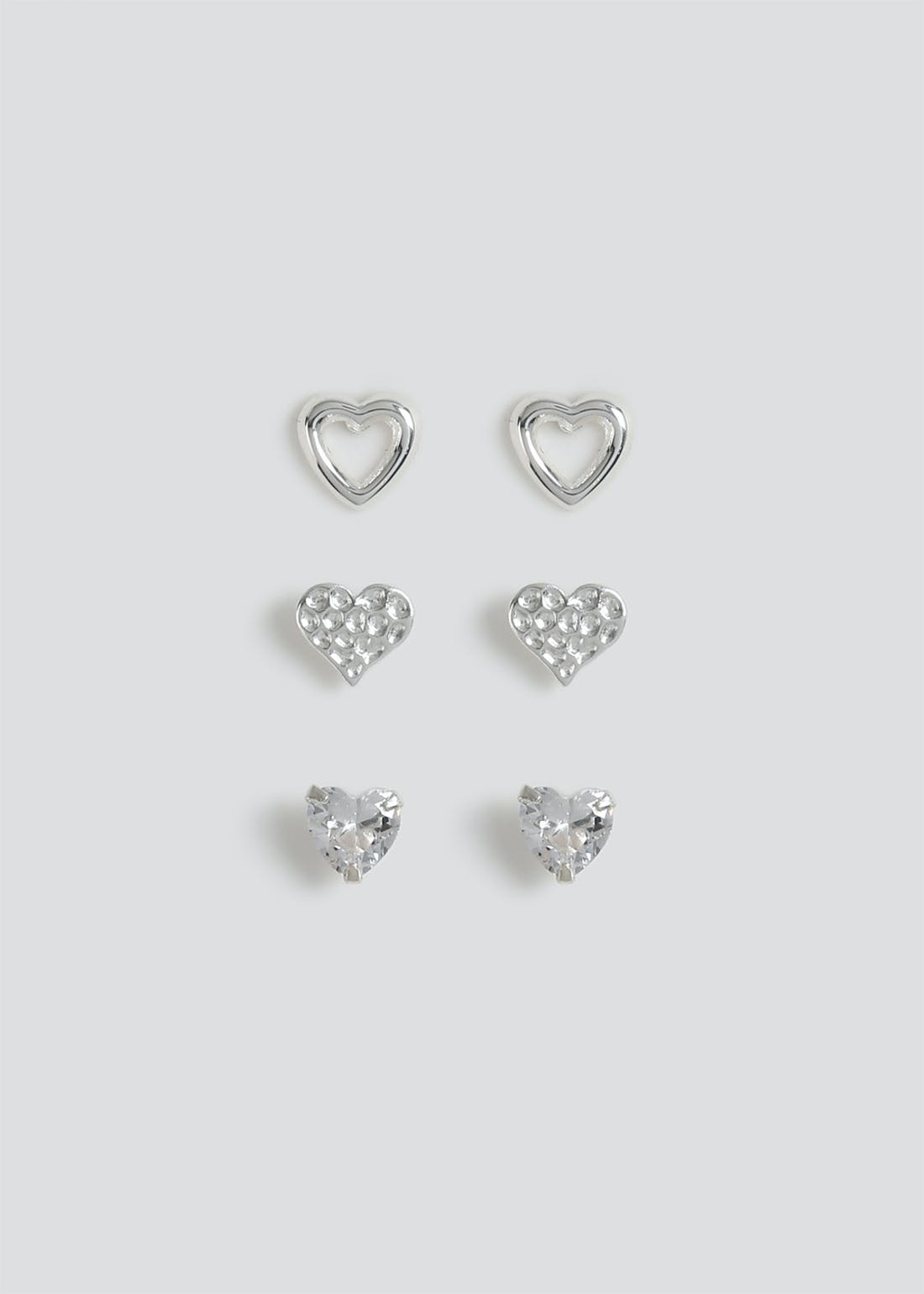 Sterling Silver 3 Pack Heart Studs