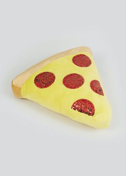 Kids Sequin Pizza Cushion (35cm x 33cm x 5cm)