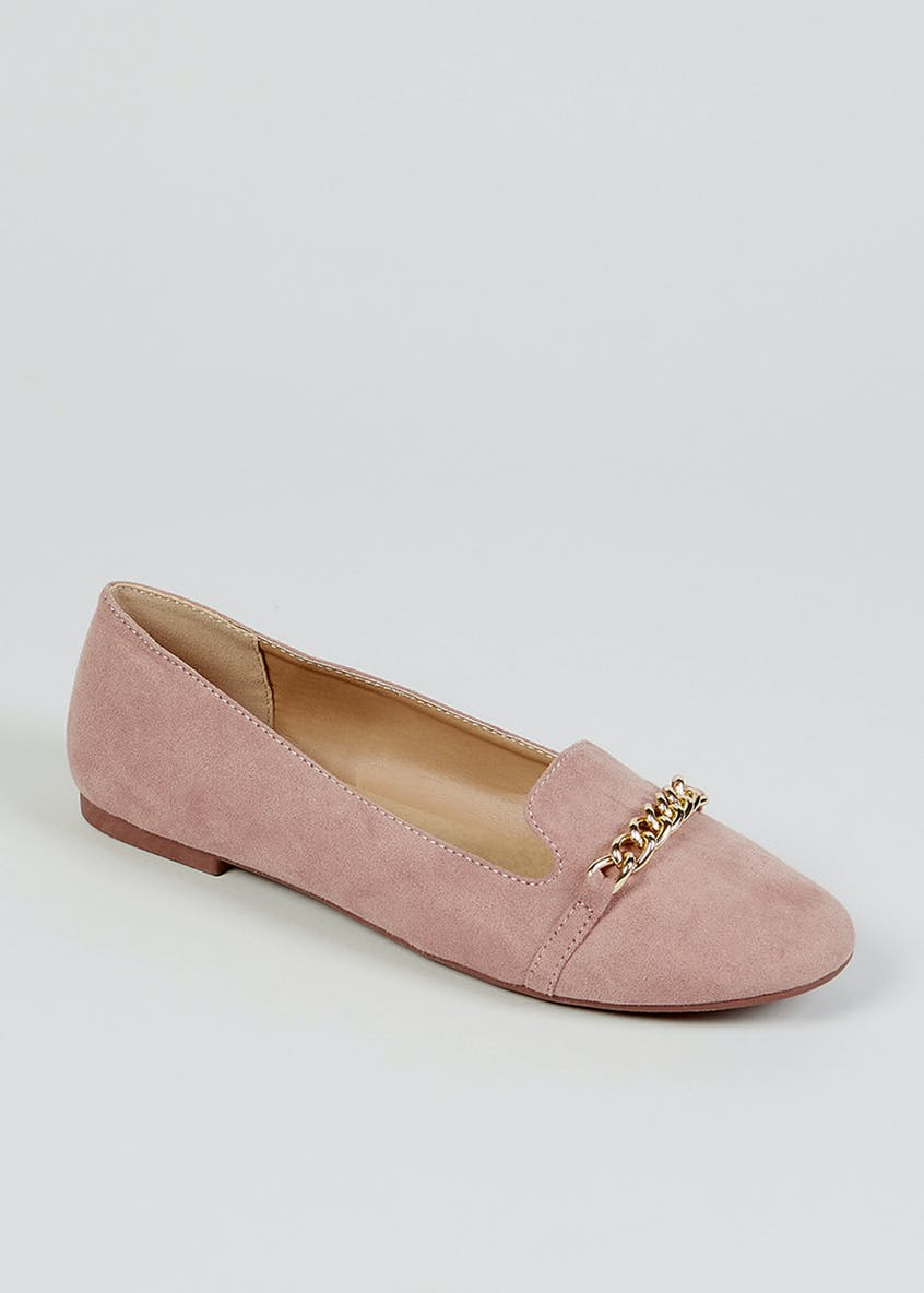 Pink Metal Chain Loafers