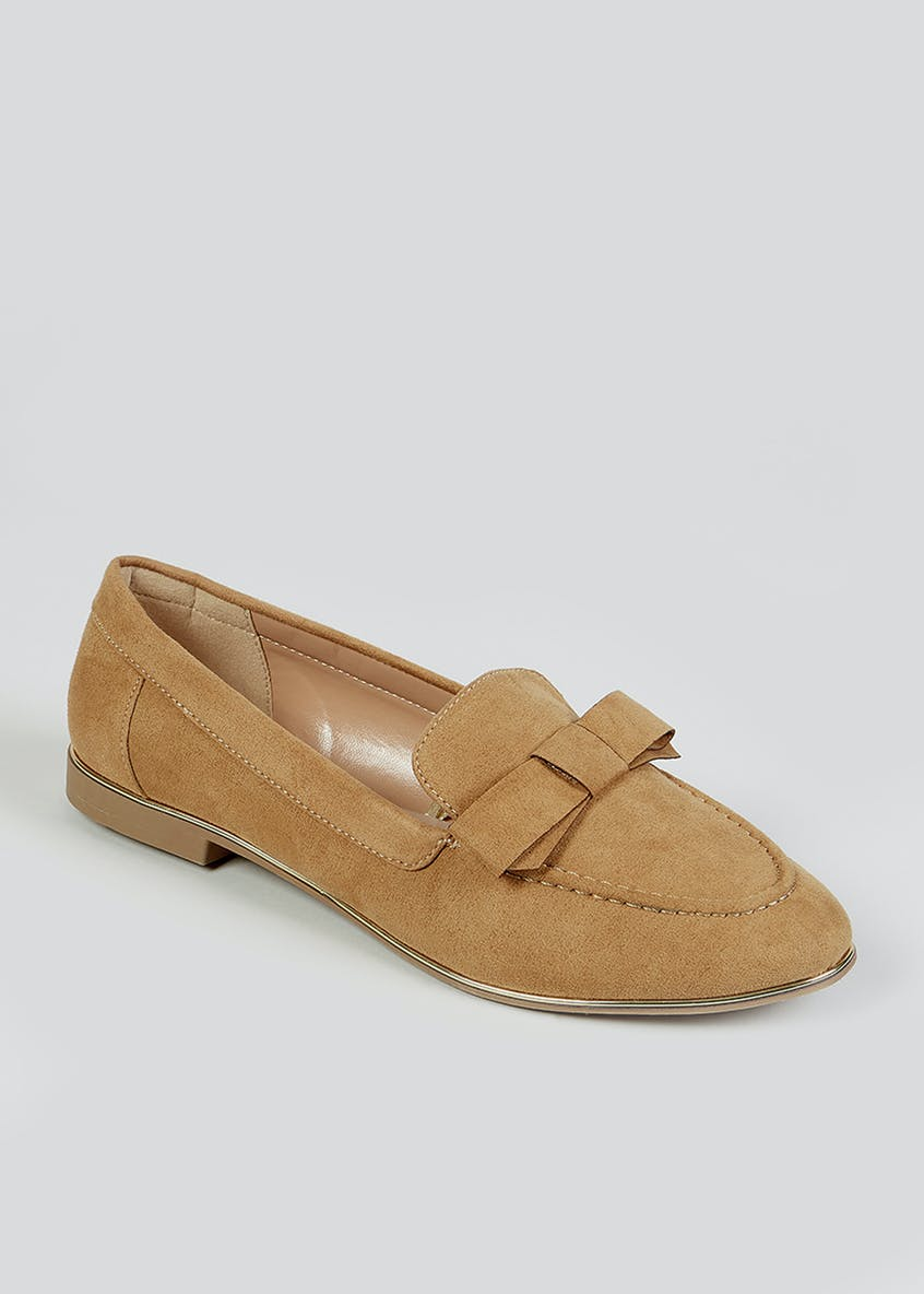 Taupe Gold Trim Loafers