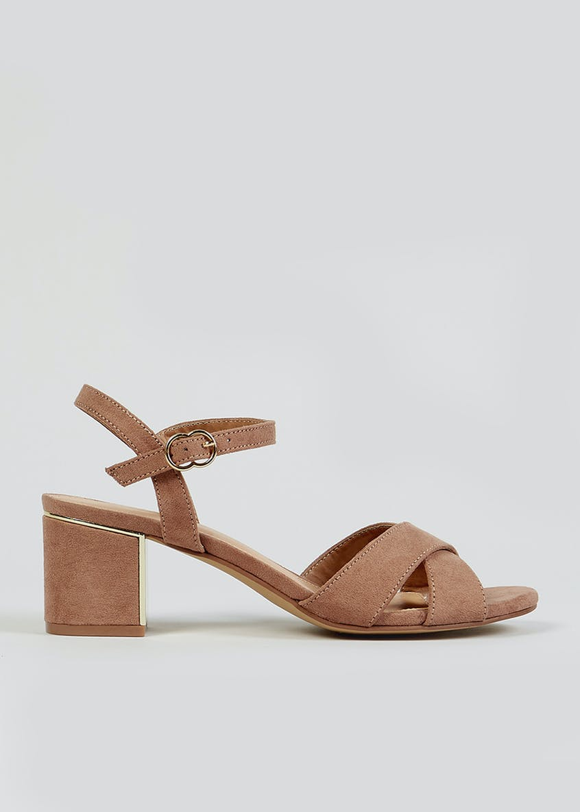 Taupe Block Heel Sandals