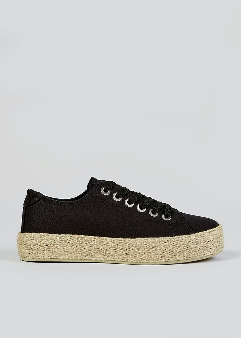 Black Lace Up Espadrille Trainers
