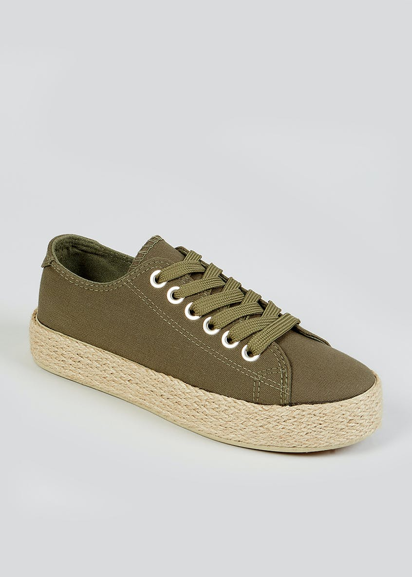 Khaki Lace Up Espadrille Trainers