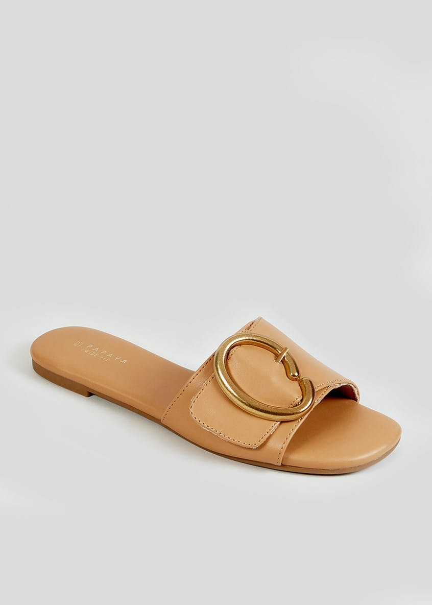Wide Fit Tan Mules