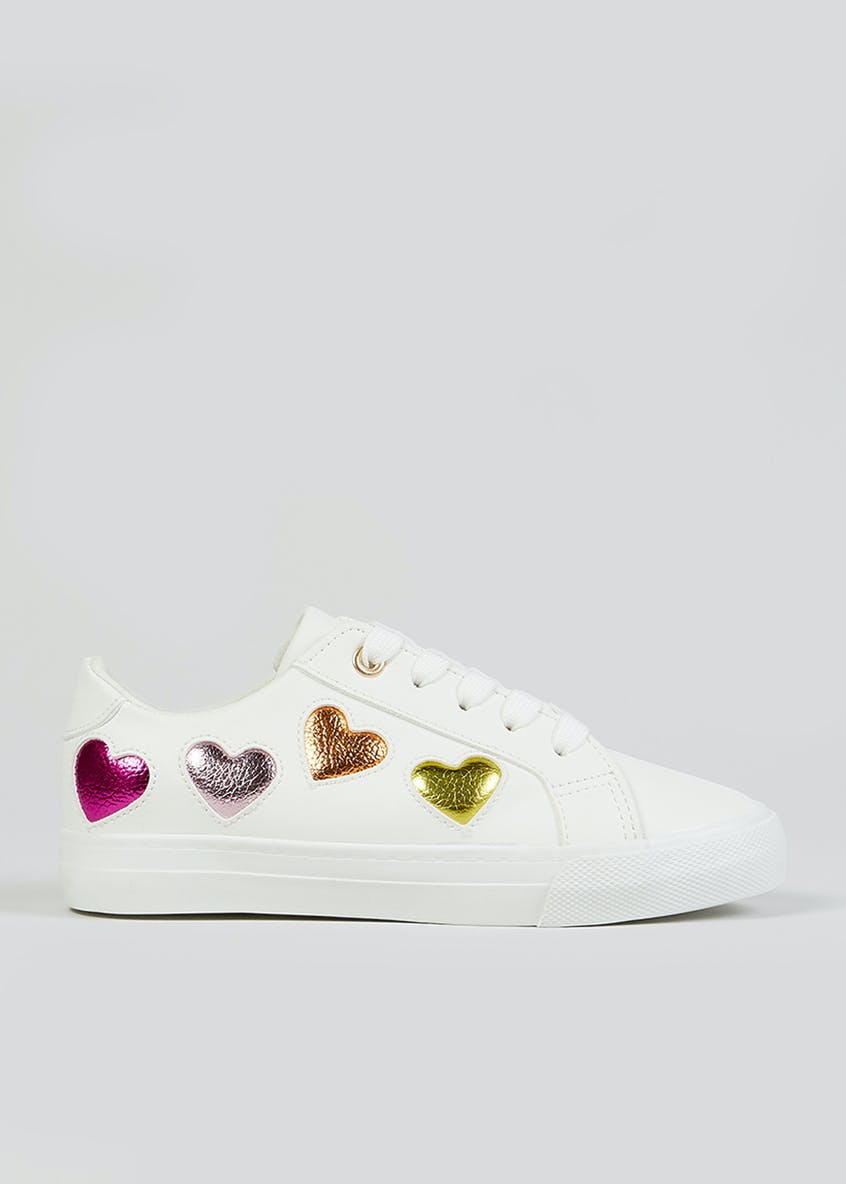Girls White Canvas Trainers (Younger 10-Older 5)