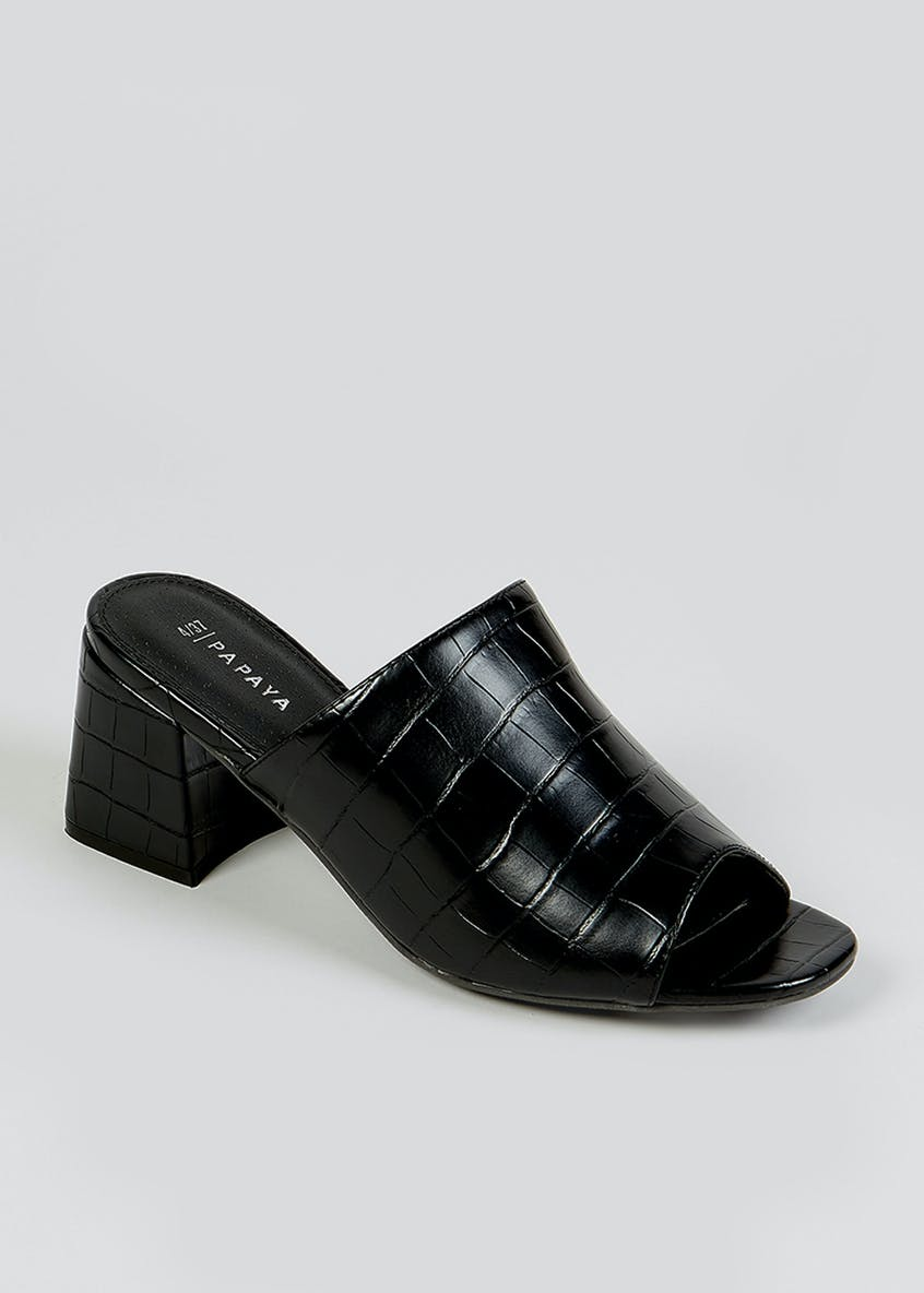 Black Mock Croc Mules