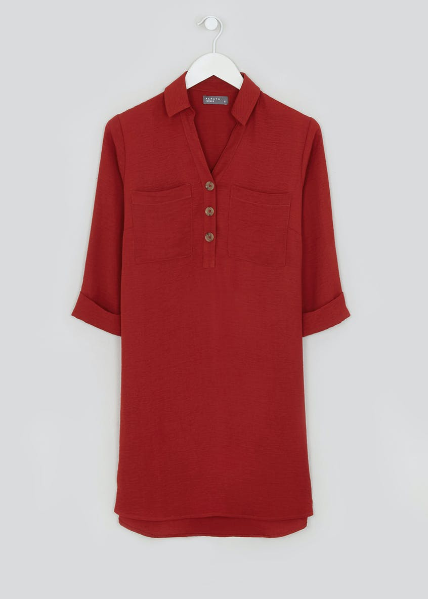 Burgundy 3/4 Sleeve Utility Shirt Dress