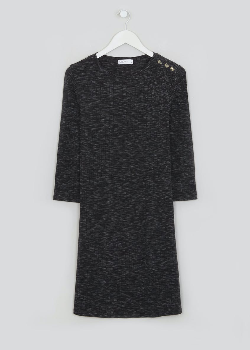 Black 3/4 Sleeve Ribbed Jersey Swing Dress