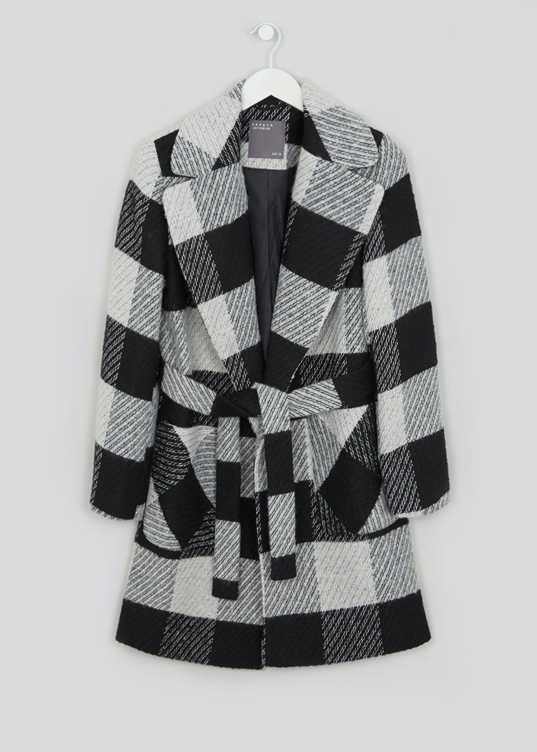 Monochrome Check Wrap Coat